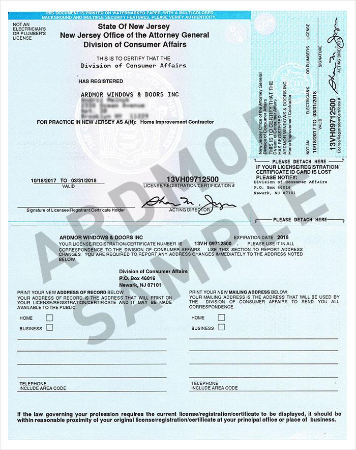 Ardmor Windows & Doors license-sample-01